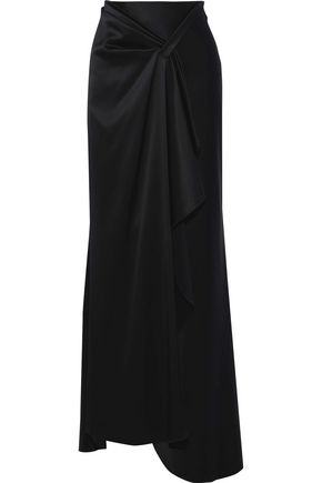 ELIE TAHARI Pleated satin-crepe maxi skirt
