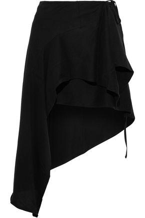 ANN DEMEULEMEESTER Asymmetric cotton-jersey mini wrap skirt