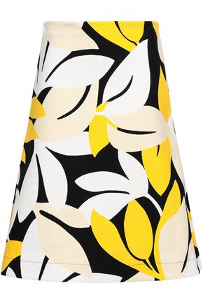MARNI Flared printed cotton-blend canvas skirt