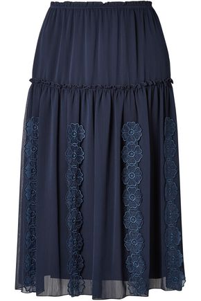 SEE BY CHLOÉ Floral-appliquéd gathered gauze skirt