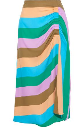 TIBI Julian ruched striped crepe midi skirt