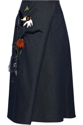 CAROLINA HERRERA Wrap-effect floral-appliquéd denim midi skirt