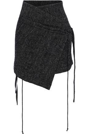 ANN DEMEULEMEESTER Draped tweed mini wrap skirt