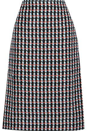 MARNI Printed cotton and silk-blend canvas skirt