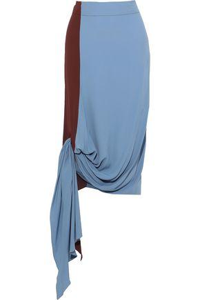 MARNI Asymmetric knotted two-tone crepe de chine midi skirt