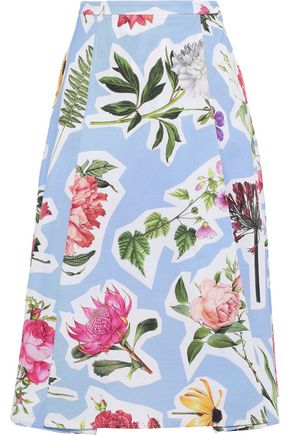 CAROLINA HERRERA Fluted floral-print cotton-blend skirt