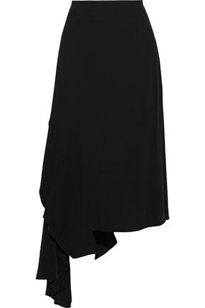 MARNI Asymmetric ruffled crepe midi skirt