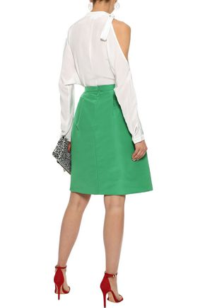 OSCAR DE LA RENTA Pleated silk-faille skirt