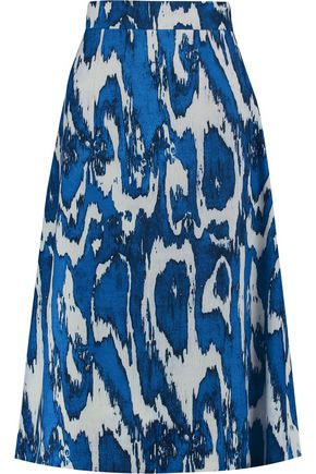 MARNI Printed wool and silk-blend crepe skirt