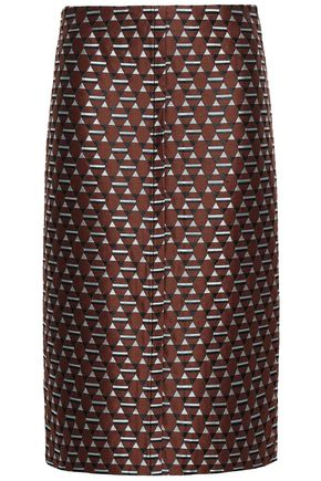 MARNI Cotton-blend jacquard pencil skirt