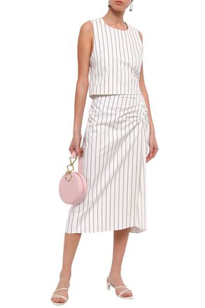 TIBI Ruched striped cotton midi skirt