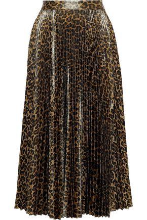 A.L.C. Bobby pleated metallic leopard-print satin midi skirt