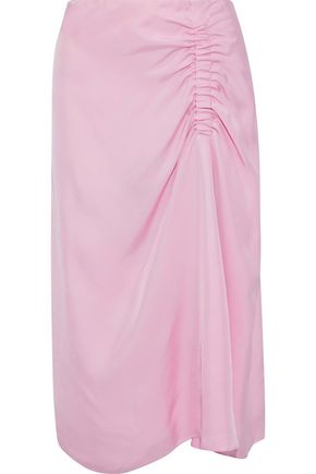 TIBI Ruched satin-twill midi skirt