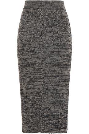 PRINGLE OF SCOTLAND Ribbed mélange wool and cotton-blend midi skirt