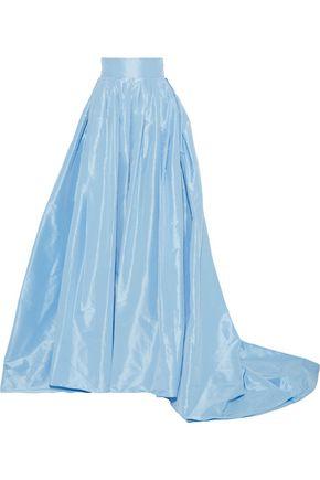 CAROLINA HERRERA Flared pleated silk-taffeta maxi skirt