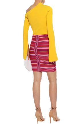 HERVÉ LÉGER Striped jacquard-knit mini pencil skirt