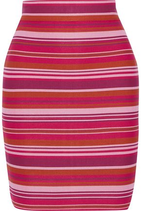 HERVÉ LÉGER Striped jacquard-knit mini pencil skirt