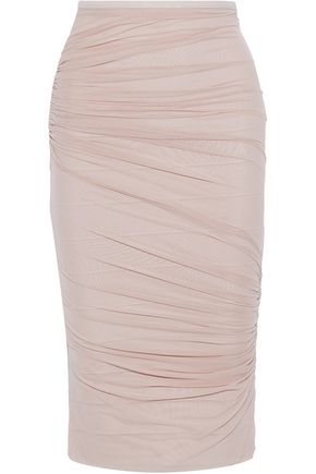 d764d4532f Layered ruched mesh and bandage pencil skirt | HERVÉ LÉGER | Sale up ...