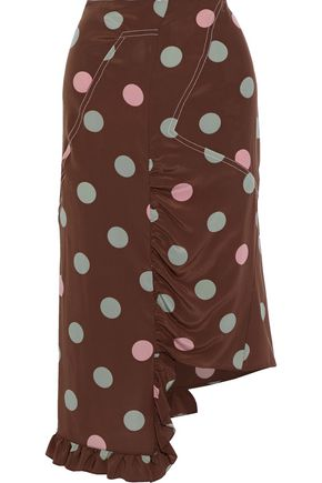 MARNI Asymmetric gathered polka-dot silk crepe de chine skirt