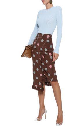 MARNI Asymmetric polka-dot silk crepe de chine skirt