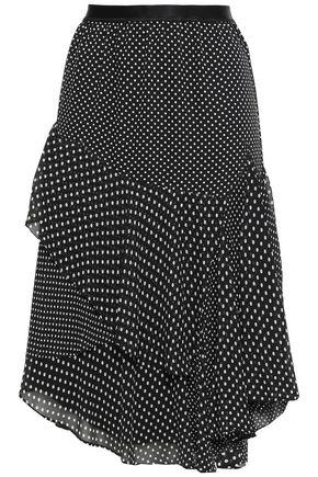 JOIE Ruffled polka-dot crepe skirt