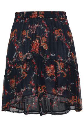 IRO Asymmetric printed georgette mini skirt