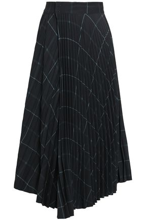 VINCE. Wrap-effect pleated checked crepe midi skirt
