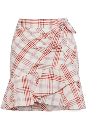 VERONICA BEARD Kaia embroidered checked cotton-blend mini skirt