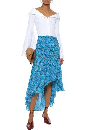 VERONICA BEARD Sevilla asymmetric floral-print silk-georgette skirt