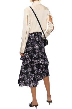 VERONICA BEARD Dane asymmetric tiered floral-print silk skirt