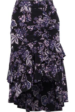 VERONICA BEARD Dane asymmetric tiered floral-print silk skirt