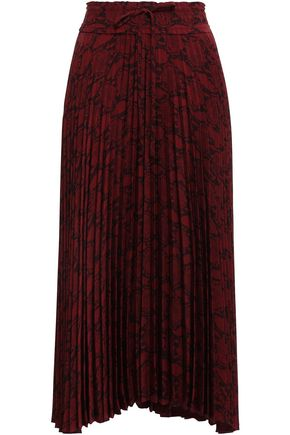 A.L.C. Pleated printed woven midi skirt