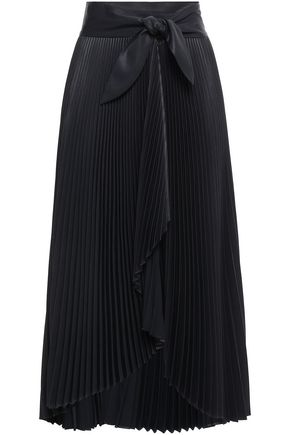 A.L.C. Eleanor plissé-satin midi wrap skirt
