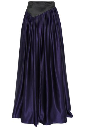 LANVIN Paneled gathered silk-satin maxi skirt