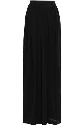 LANVIN Satin-trimmed silk-blend georgette maxi skirt