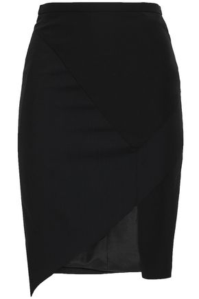 LANVIN Asymmetric paneled wool and silk-crepe mini skirt