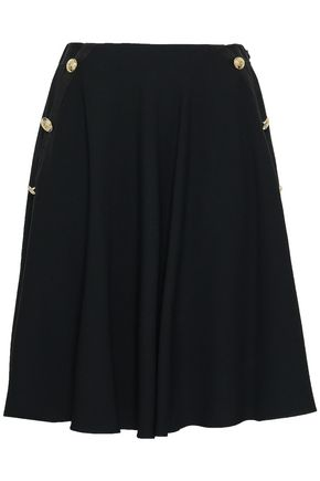 LANVIN Button-embellished satin-crepe skirt