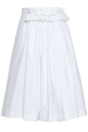 LANVIN Ruffled gathered cotton-poplin skirt