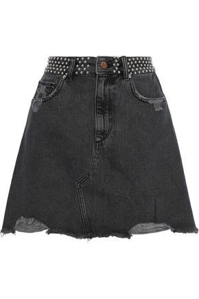 DL1961 Georgia studded distressed denim mini skirt
