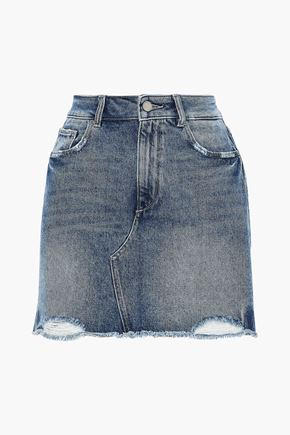DL1961 Gardera distressed denim mini skirt