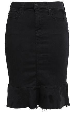 MOTHER Fluted denim skirt