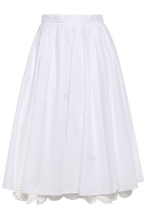 PRADA Scalloped layered cotton-poplin midi skirt