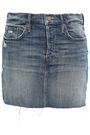 MOTHER Distressed denim mini skirt