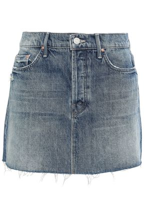 MOTHER Distressed denim mini skirt