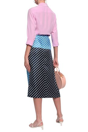 TIBI Ruched striped silk-twill midi skirt