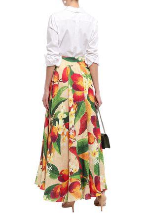 ISOLDA Printed linen maxi skirt