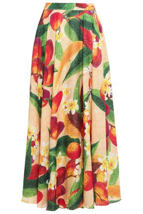 ISOLDA Printed linen maxi skirt