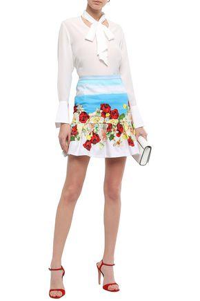 ISOLDA Fluted stretch-cotton mini skirt
