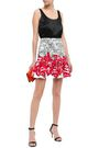ISOLDA Fluted printed stretch-cotton mini skirt