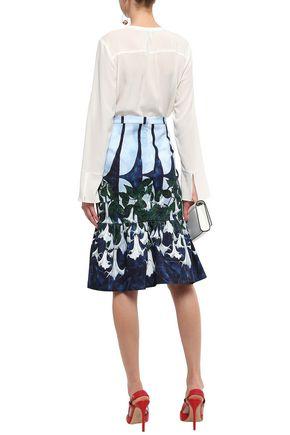 ISOLDA Fluted stretch-cotton skirt